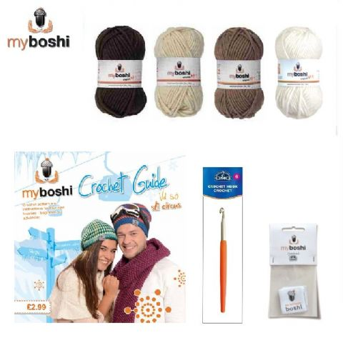 Brown - Makes 3 x Myboshi Ski Circus Beanies & Hats - Intermediate to Advanced Crochet Kit